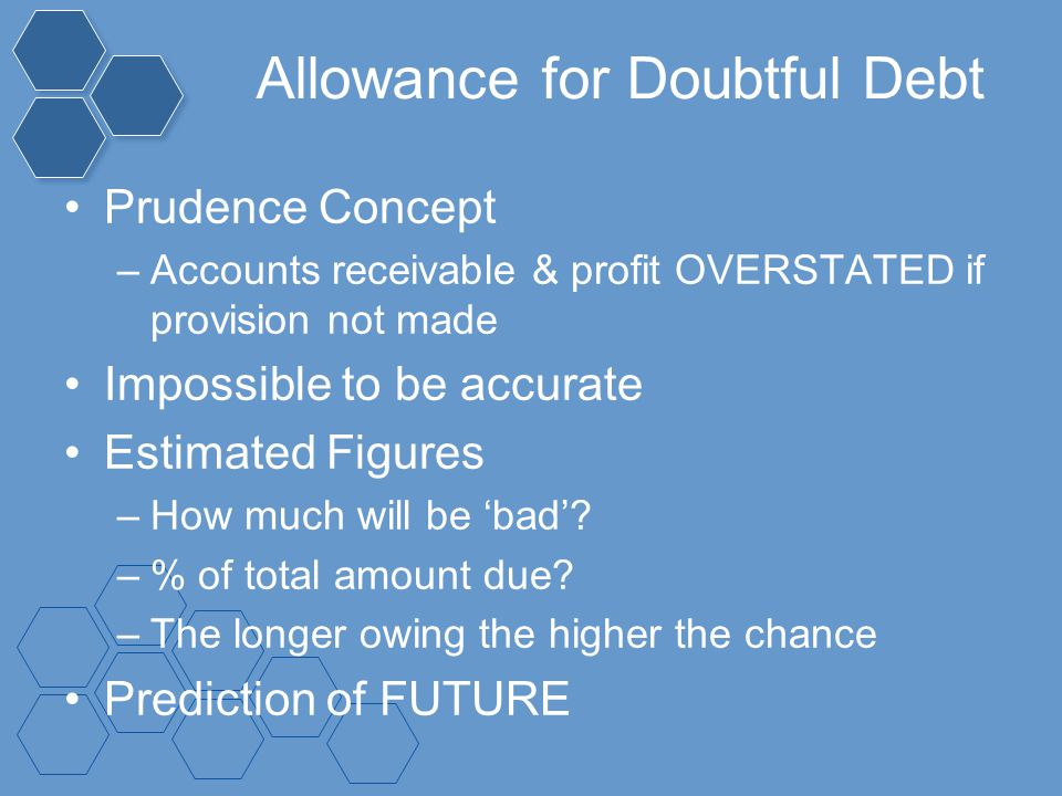 Allowance for Doubtful Debt Prudence Concept –Accounts receivable & profit OVERSTATED if provision not made Impossible to be accurate Estimated Figure
