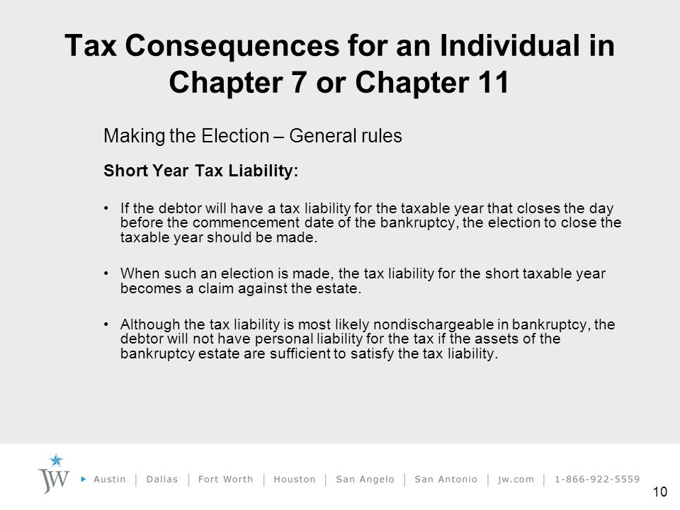 10 Making the Election – General rules Short Year Tax Liability: If the debtor will have a tax liability for the taxable year that closes the day befo