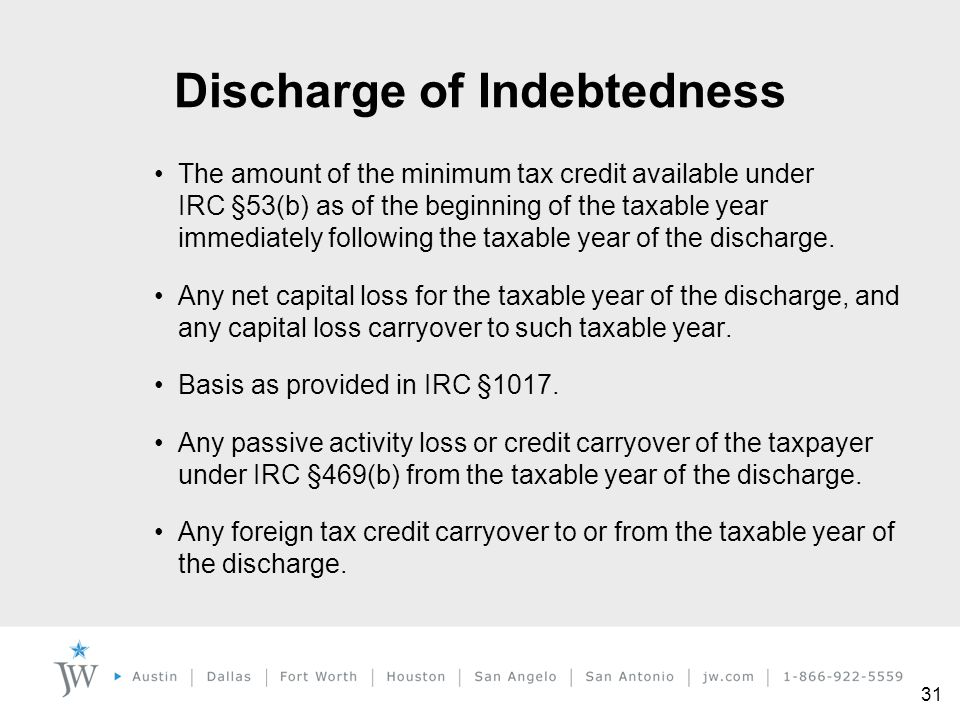 31 The amount of the minimum tax credit available under IRC §53(b) as of the beginning of the taxable year immediately following the taxable year of t