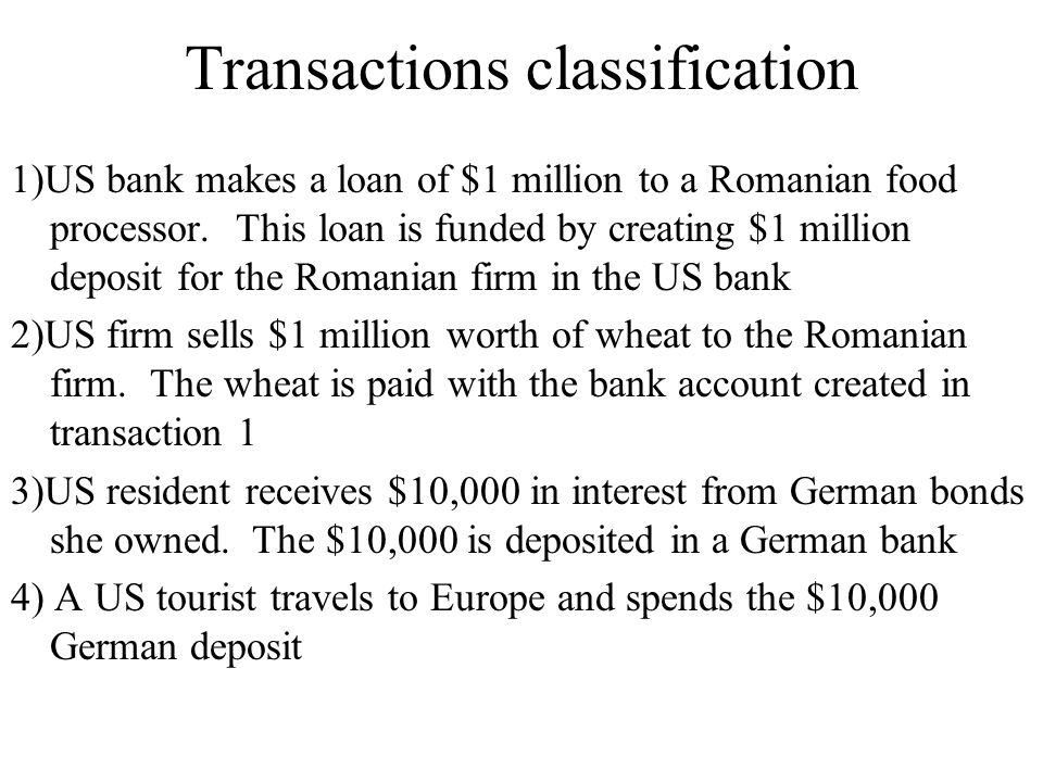 Transactions classification 1)US bank makes a loan of $1 million to a Romanian food processor. This loan is funded by creating $1 million deposit for