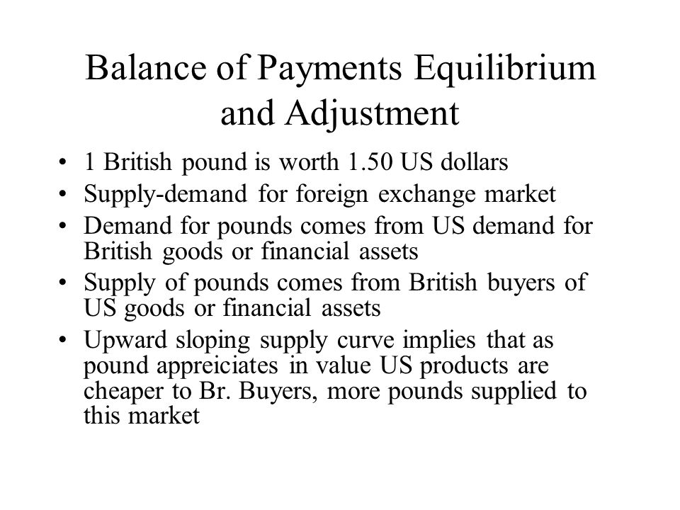 Balance of Payments Equilibrium and Adjustment 1 British pound is worth 1.50 US dollars Supply-demand for foreign exchange market Demand for pounds co