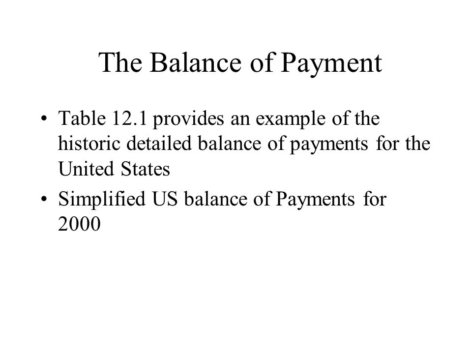The Balance of Payment Table 12.1 provides an example of the historic detailed balance of payments for the United States Simplified US balance of Paym