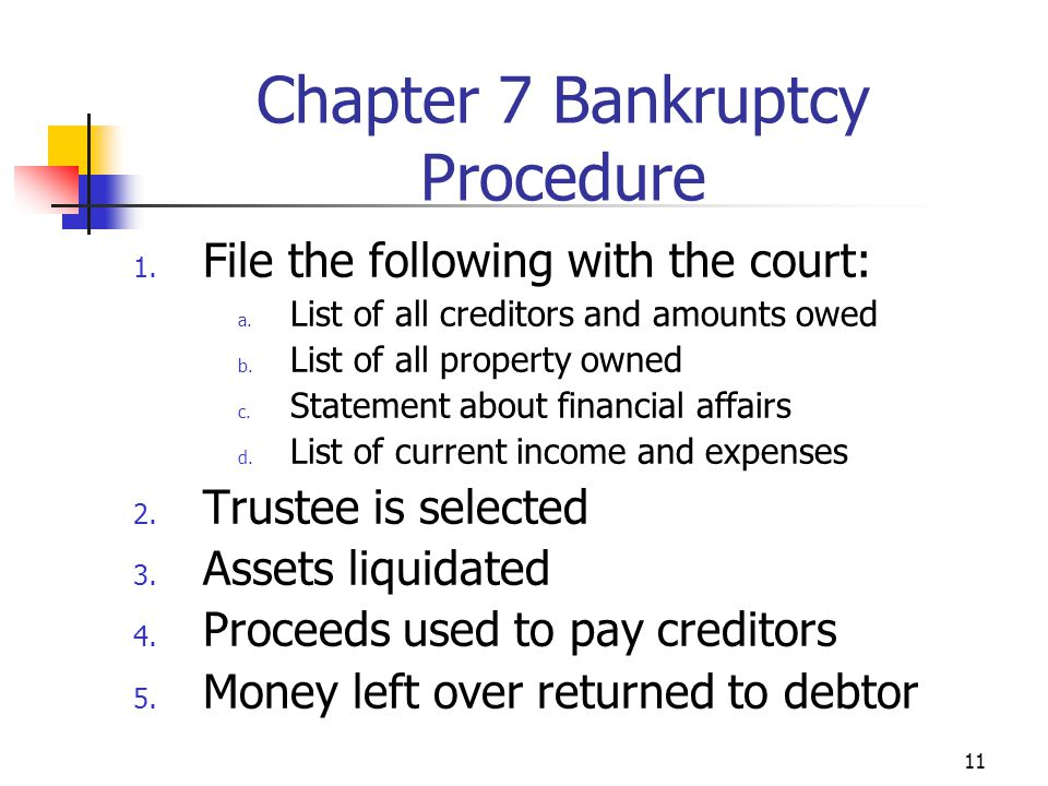 11 1. File the following with the court: a. List of all creditors and amounts owed b. List of all property owned c. Statement about financial affairs