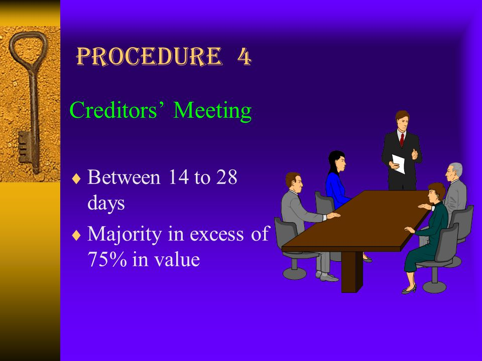 Procedure 4 Creditors' Meeting  Between 14 to 28 days  Majority in excess of 75% in value