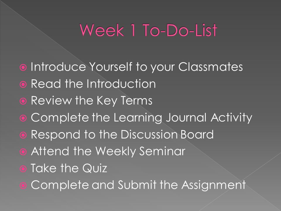  Introduce Yourself to your Classmates  Read the Introduction  Review the Key Terms  Complete the Learning Journal Activity  Respond to the Discu