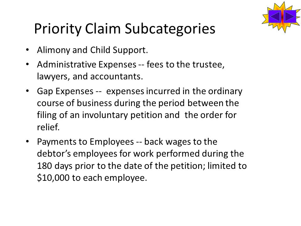 Priority Claim Subcategories Alimony and Child Support.