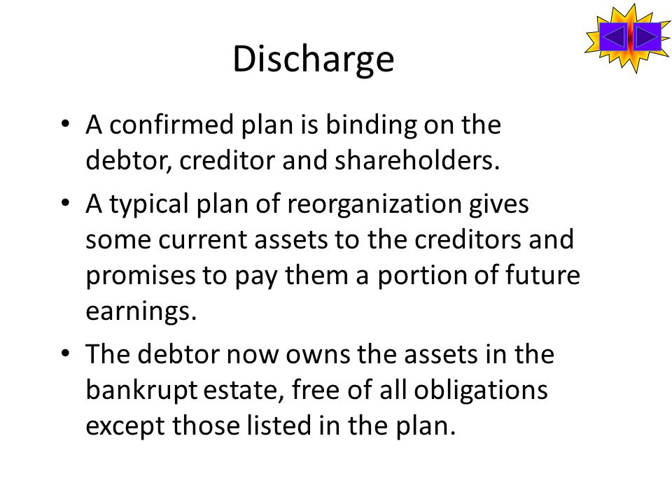 Discharge A confirmed plan is binding on the debtor, creditor and shareholders.