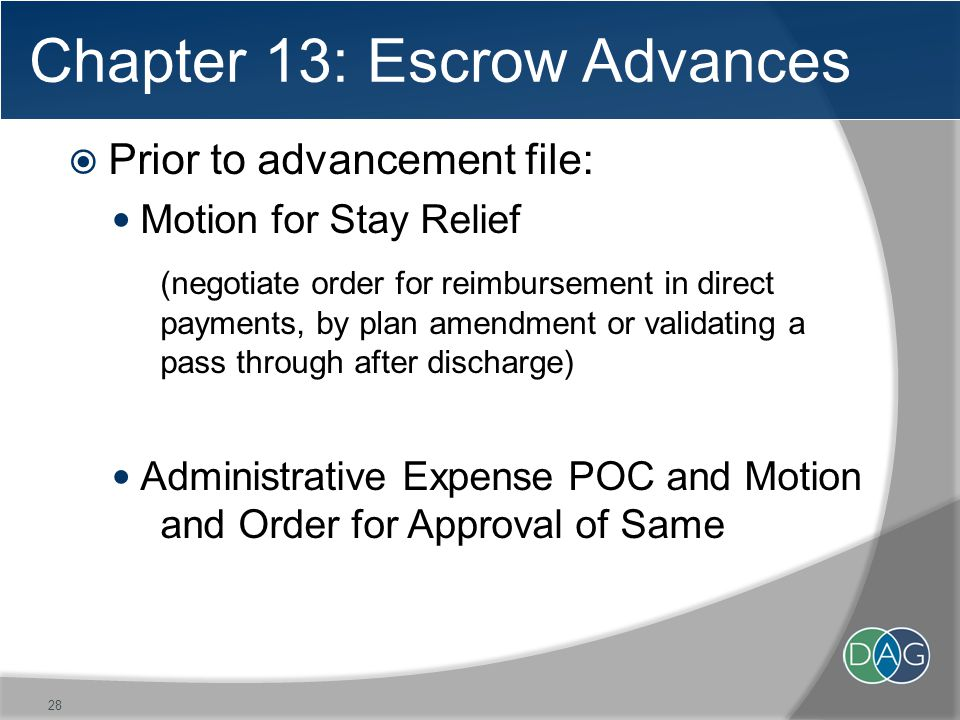 Chapter 13: Escrow Advances  Prior to advancement file: Motion for Stay Relief (negotiate order for reimbursement in direct payments, by plan amendment or validating a pass through after discharge) Administrative Expense POC and Motion and Order for Approval of Same 28