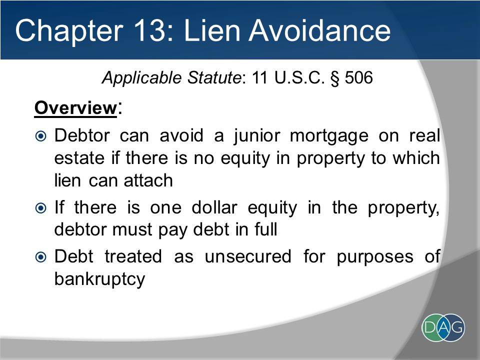 Chapter 13: Lien Avoidance Applicable Statute: 11 U.S.C.
