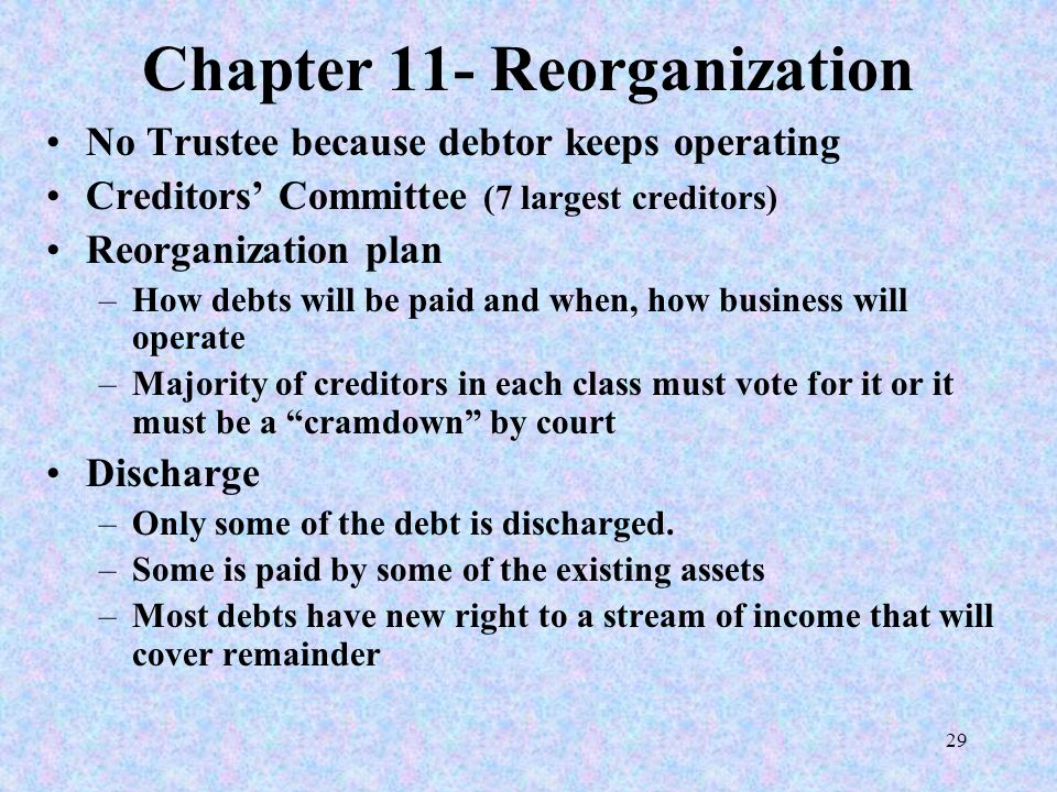 29 Chapter 11- Reorganization No Trustee because debtor keeps operating Creditors' Committee (7 largest creditors) Reorganization plan –How debts will