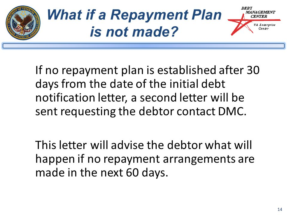 14 What if a Repayment Plan is not made.