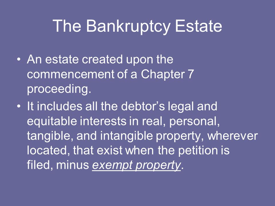 The Bankruptcy Estate An estate created upon the commencement of a Chapter 7 proceeding.