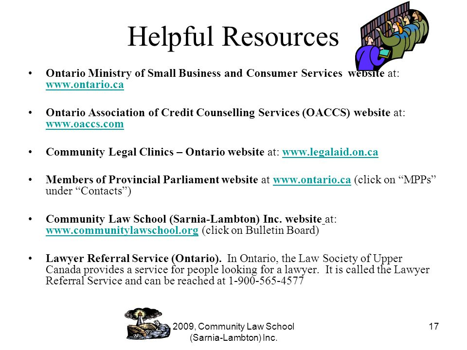 2009, Community Law School (Sarnia-Lambton) Inc.