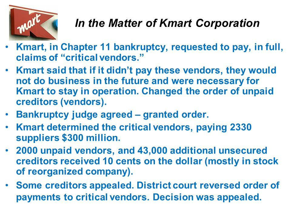 """Bankruptcy Chapter 11 Allows businesses to keep operating, without liquidation of assets """"Prepackaged"""" bankruptcy filings: debtor & creditors settle i"""