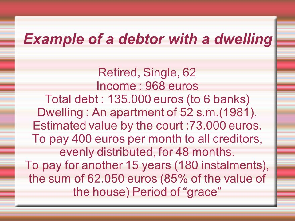 Example of a debtor with a dwelling Retired, Single, 62 Income : 968 euros Total debt : 135.000 euros (to 6 banks) Dwelling : An apartment of 52 s.m.(1981).