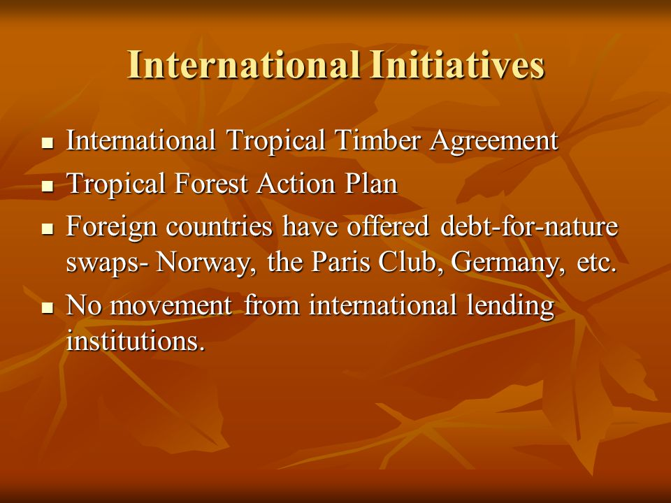 International Initiatives International Tropical Timber Agreement International Tropical Timber Agreement Tropical Forest Action Plan Tropical Forest Action Plan Foreign countries have offered debt-for-nature swaps- Norway, the Paris Club, Germany, etc.