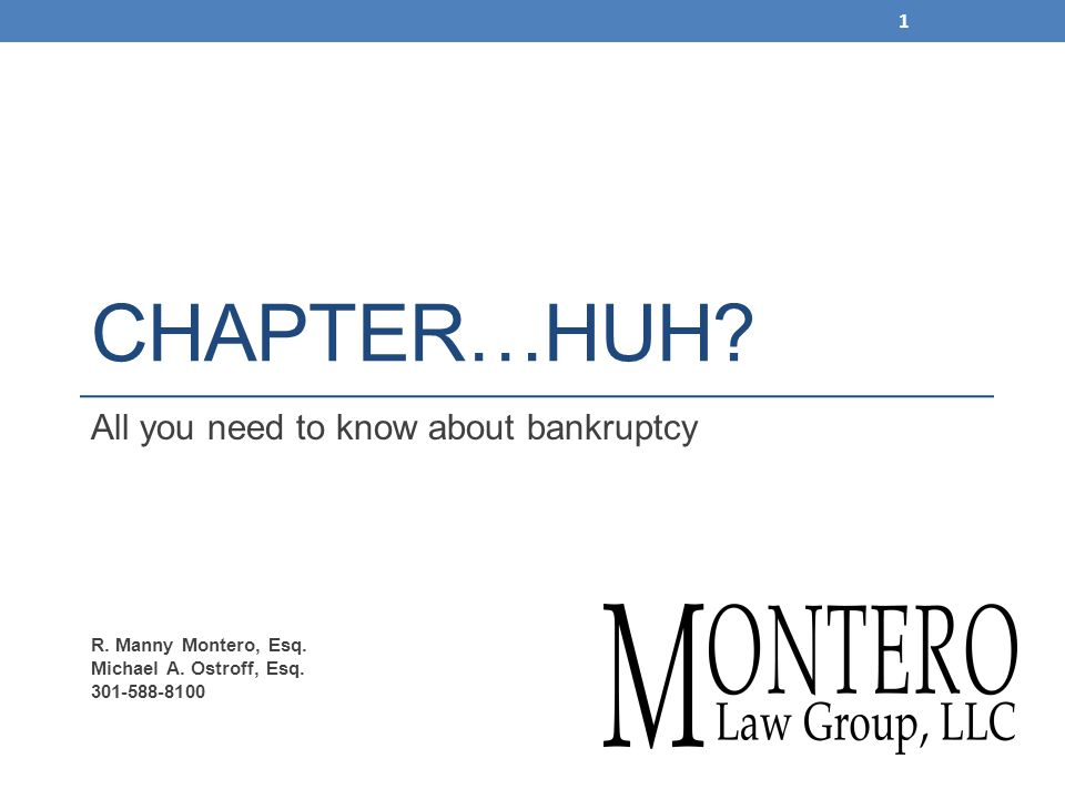 CHAPTER…HUH. All you need to know about bankruptcy R.