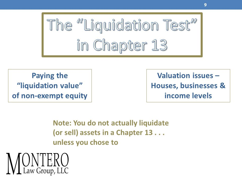 Paying the liquidation value of non-exempt equity Valuation issues – Houses, businesses & income levels Note: You do not actually liquidate (or sell) assets in a Chapter 13...
