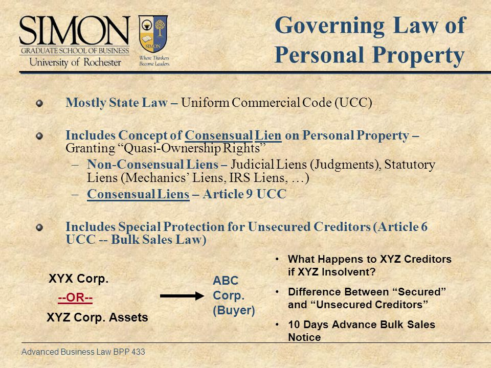 Advanced Business Law BPP 433 Article 9 UCC – Secured Transactions Rules Article 9 UCC -- Set of Default Rules Imposed by Statute –Minimize Transactions Costs –Minimize Information Costs –Facilitate Financing Article 9 Basic Concepts –Agreement Required – Manifest Intent to Create Security Interest in Return for..