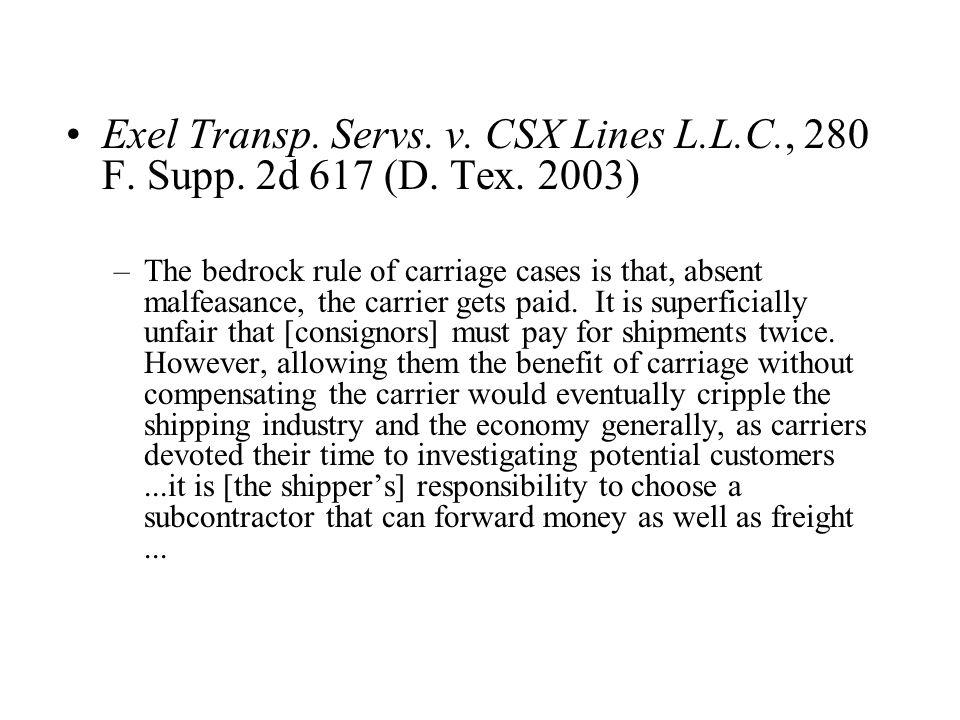 Exel Transp. Servs. v. CSX Lines L.L.C., 280 F.