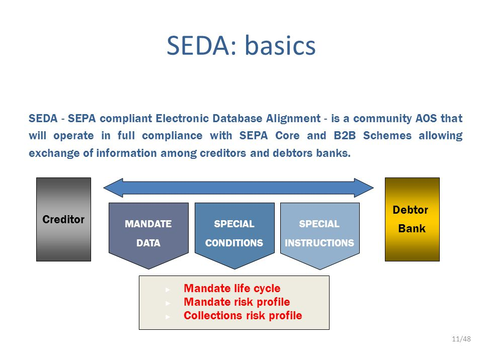 11/48 SEDA - SEPA compliant Electronic Database Alignment - is a community AOS that will operate in full compliance with SEPA Core and B2B Schemes allowing exchange of information among creditors and debtors banks.