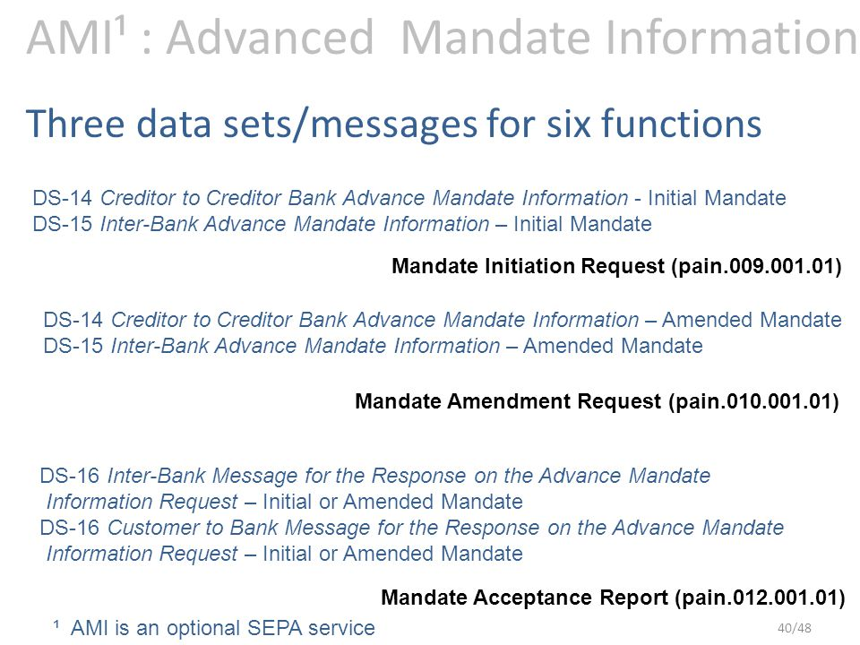 AMI¹ : Advanced Mandate Information Mandate Initiation Request (pain.009.001.01) Mandate Amendment Request (pain.010.001.01) Mandate Acceptance Report (pain.012.001.01) DS-14 Creditor to Creditor Bank Advance Mandate Information - Initial Mandate DS-15 Inter-Bank Advance Mandate Information – Initial Mandate DS-14 Creditor to Creditor Bank Advance Mandate Information – Amended Mandate DS-15 Inter-Bank Advance Mandate Information – Amended Mandate DS-16 Inter-Bank Message for the Response on the Advance Mandate Information Request – Initial or Amended Mandate DS-16 Customer to Bank Message for the Response on the Advance Mandate Information Request – Initial or Amended Mandate Three data sets/messages for six functions ¹ AMI is an optional SEPA service 40/48