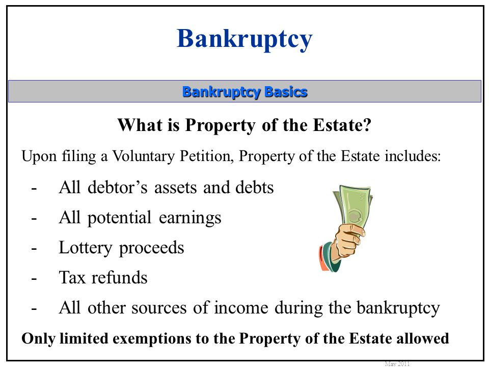 Bankruptcy May 2011 Bankruptcy Basics What is Property of the Estate.