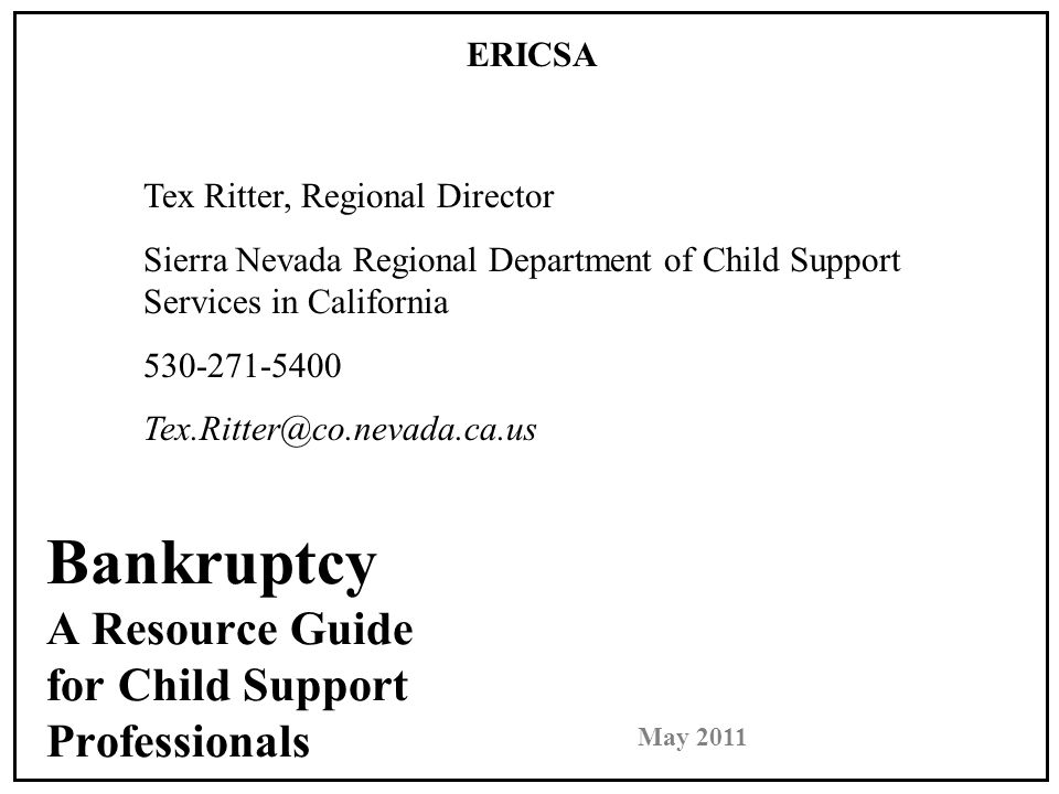 Bankruptcy May 2011 Bankruptcy Basics Establishment of Modification of Support or Paternity Establishment of paternity, support, or health insurance orders are never stayed An action to modify support is not affected by filing for bankruptcy