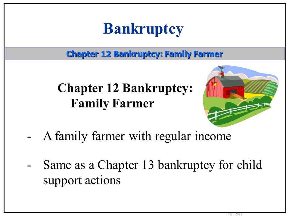 Bankruptcy May 2011 Chapter 12 Bankruptcy: Family Farmer Chapter 12 Bankruptcy: Family Farmer -A family farmer with regular income -Same as a Chapter 13 bankruptcy for child support actions