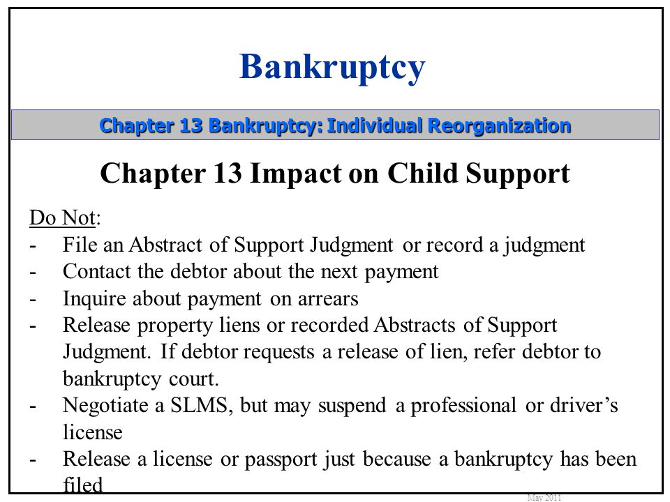 Bankruptcy May 2011 Chapter 13 Bankruptcy: Individual Reorganization Chapter 13 Impact on Child Support Do Not: -File an Abstract of Support Judgment or record a judgment -Contact the debtor about the next payment -Inquire about payment on arrears -Release property liens or recorded Abstracts of Support Judgment.