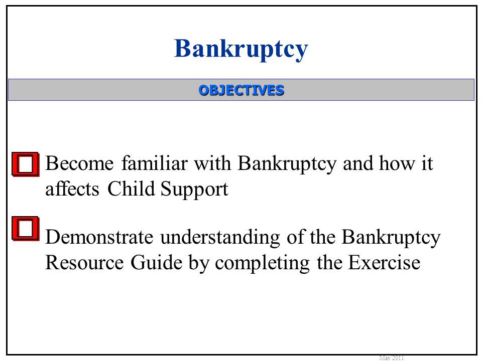 Bankruptcy Basics Bankruptcy is the legal action to: Eliminate debt Get a fresh start Child Support obligations cannot be discharged or modified in Bankruptcy.