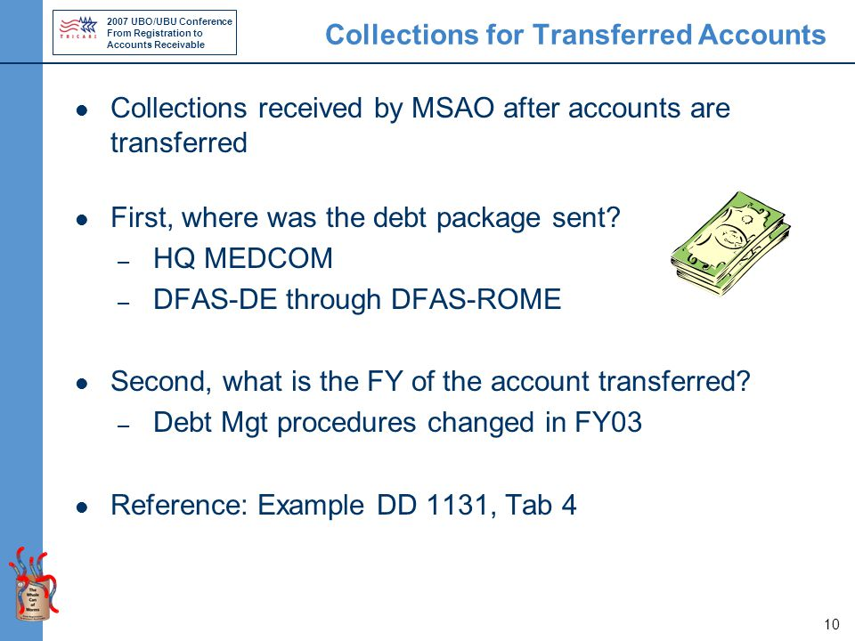2007 UBO/UBU Conference From Registration to Accounts Receivable 10 Collections for Transferred Accounts Collections received by MSAO after accounts are transferred First, where was the debt package sent.