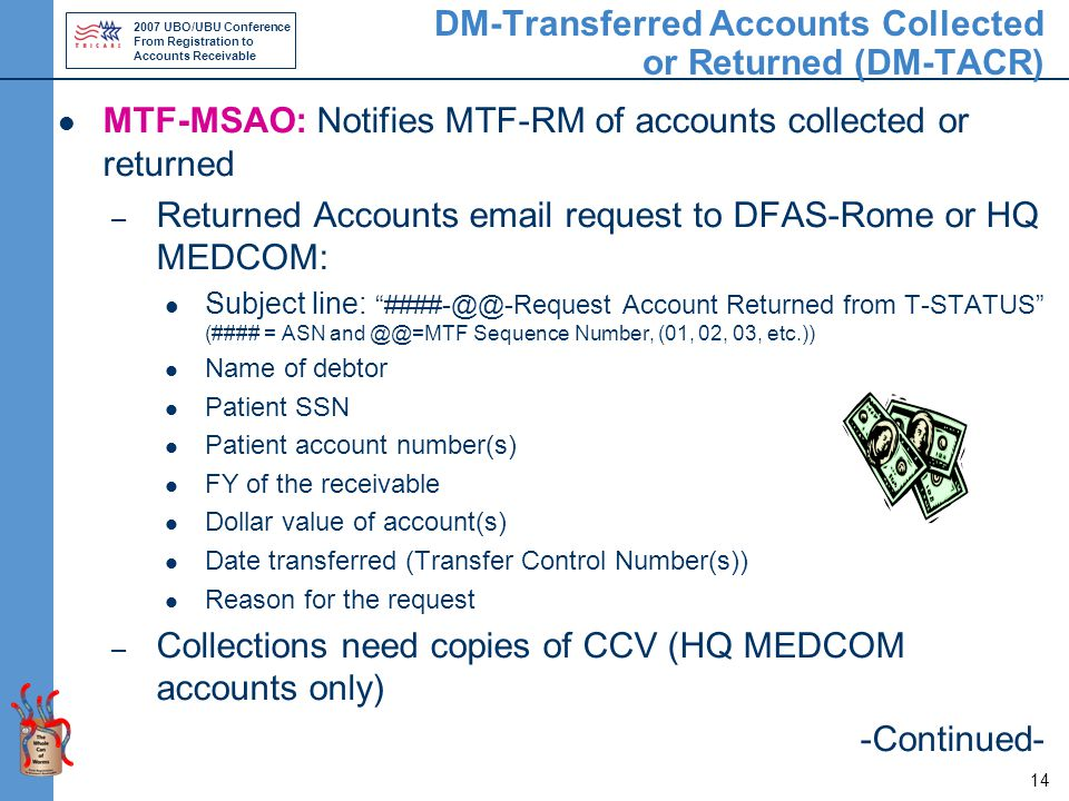 2007 UBO/UBU Conference From Registration to Accounts Receivable 14 DM-Transferred Accounts Collected or Returned (DM-TACR) MTF-MSAO: Notifies MTF-RM of accounts collected or returned – Returned Accounts email request to DFAS-Rome or HQ MEDCOM: Subject line: ####-@@-Request Account Returned from T-STATUS (#### = ASN and @@=MTF Sequence Number, (01, 02, 03, etc.)) Name of debtor Patient SSN Patient account number(s) FY of the receivable Dollar value of account(s) Date transferred (Transfer Control Number(s)) Reason for the request – Collections need copies of CCV (HQ MEDCOM accounts only) -Continued-