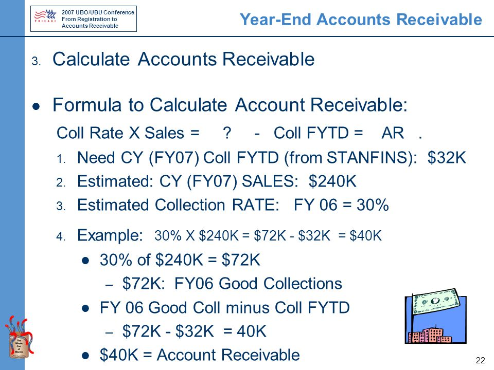 2007 UBO/UBU Conference From Registration to Accounts Receivable 22 Year-End Accounts Receivable 3.