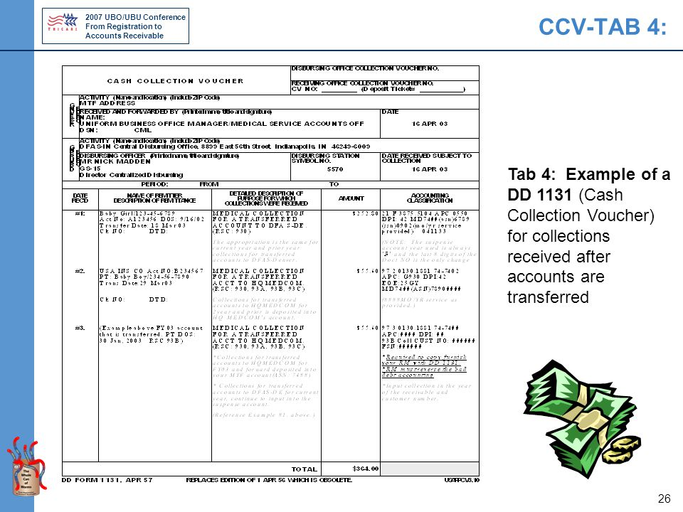 2007 UBO/UBU Conference From Registration to Accounts Receivable 26 CCV-TAB 4: Tab 4: Example of a DD 1131 (Cash Collection Voucher) for collections received after accounts are transferred