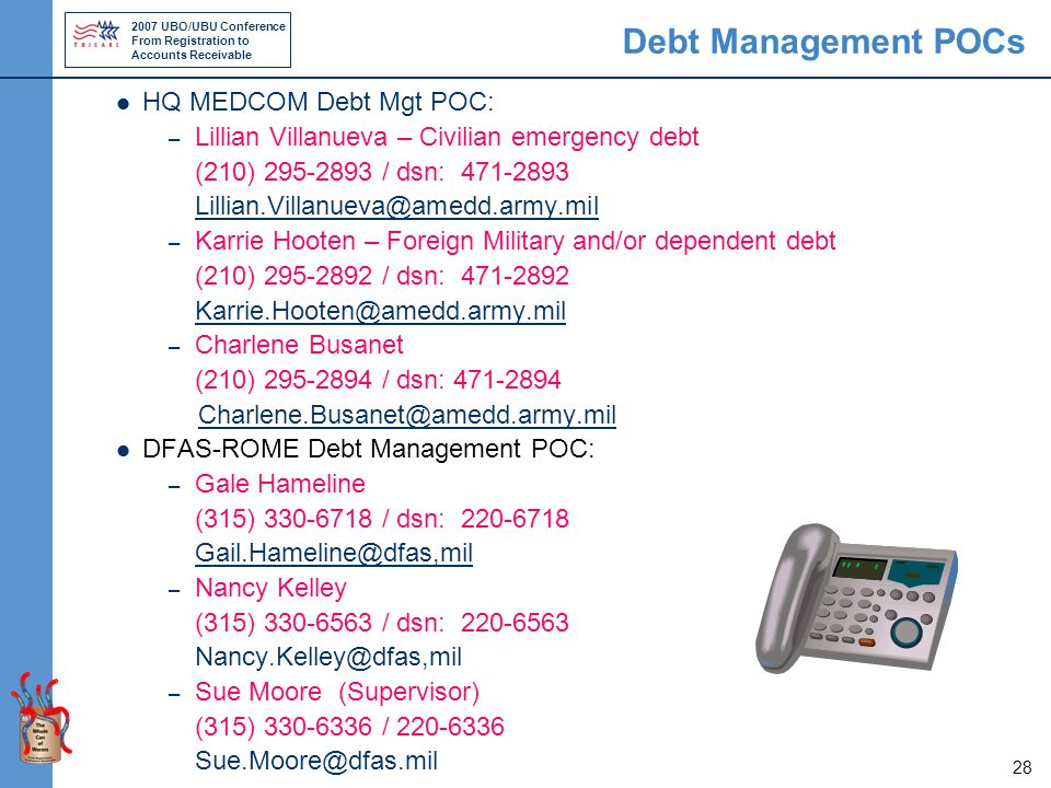 2007 UBO/UBU Conference From Registration to Accounts Receivable 28 Debt Management POCs HQ MEDCOM Debt Mgt POC: – Lillian Villanueva – Civilian emergency debt (210) 295-2893 / dsn: 471-2893 Lillian.Villanueva@amedd.army.mil – Karrie Hooten – Foreign Military and/or dependent debt (210) 295-2892 / dsn: 471-2892 Karrie.Hooten@amedd.army.mil – Charlene Busanet (210) 295-2894 / dsn: 471-2894 Charlene.Busanet@amedd.army.mil DFAS-ROME Debt Management POC: – Gale Hameline (315) 330-6718 / dsn: 220-6718 Gail.Hameline@dfas,mil – Nancy Kelley (315) 330-6563 / dsn: 220-6563 Nancy.Kelley@dfas,mil – Sue Moore (Supervisor) (315) 330-6336 / 220-6336 Sue.Moore@dfas.mil