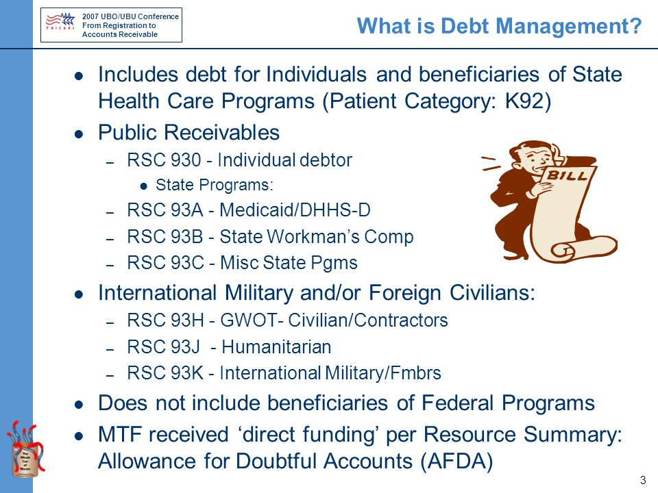 2007 UBO/UBU Conference From Registration to Accounts Receivable 3 What is Debt Management.