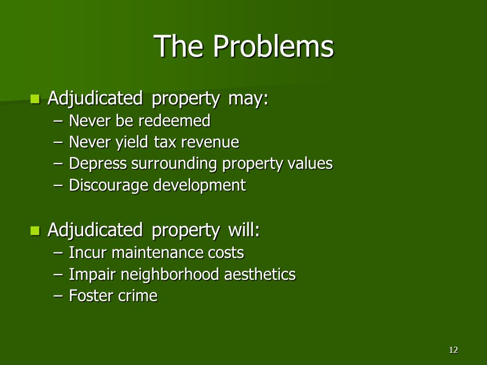 12 The Problems Adjudicated property may: Adjudicated property may: –Never be redeemed –Never yield tax revenue –Depress surrounding property values –Discourage development Adjudicated property will: Adjudicated property will: –Incur maintenance costs –Impair neighborhood aesthetics –Foster crime