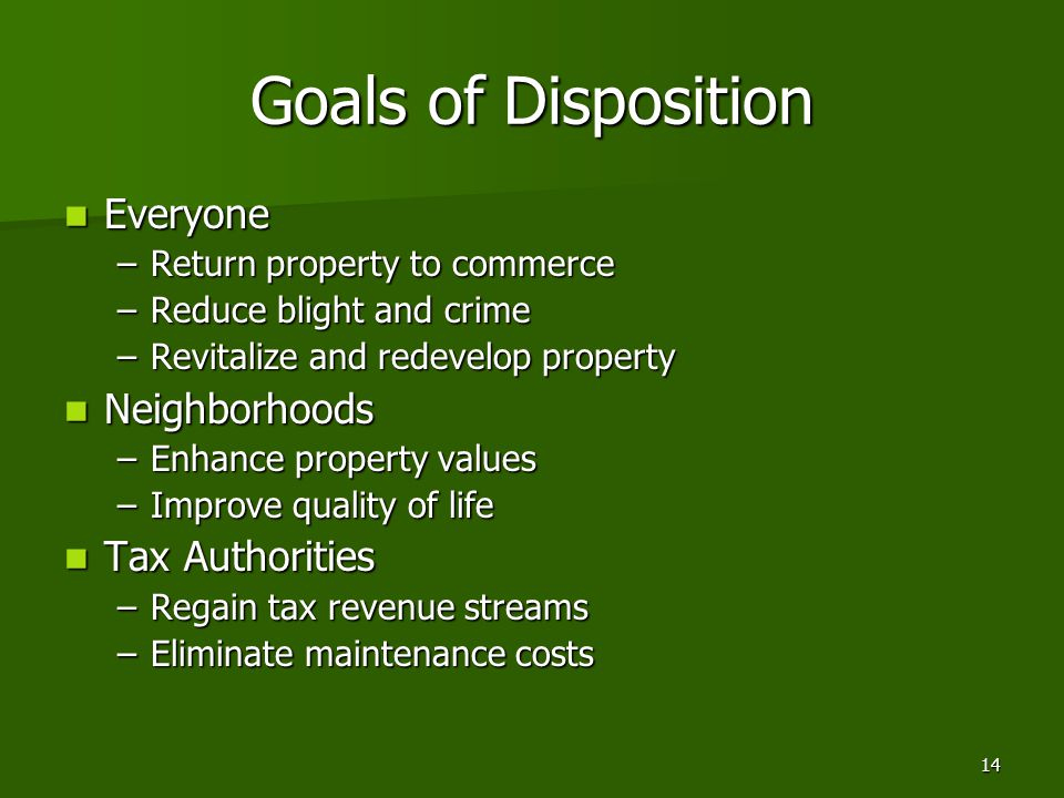 14 Goals of Disposition Everyone Everyone –Return property to commerce –Reduce blight and crime –Revitalize and redevelop property Neighborhoods Neigh
