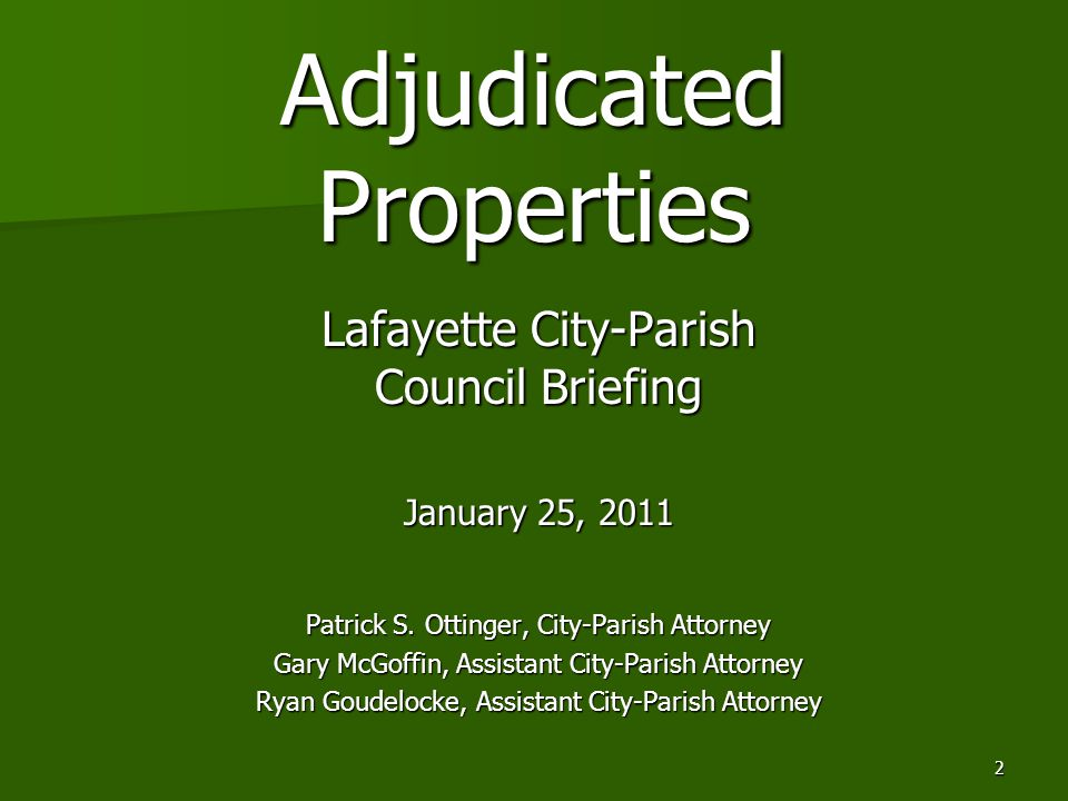 2 Adjudicated Properties Lafayette City-Parish Council Briefing January 25, 2011 Patrick S.