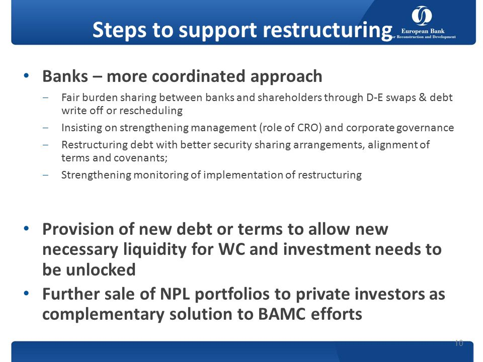 Steps to support restructuring Banks – more coordinated approach ‒Fair burden sharing between banks and shareholders through D-E swaps & debt write off or rescheduling ‒Insisting on strengthening management (role of CRO) and corporate governance ‒Restructuring debt with better security sharing arrangements, alignment of terms and covenants; ‒Strengthening monitoring of implementation of restructuring Provision of new debt or terms to allow new necessary liquidity for WC and investment needs to be unlocked Further sale of NPL portfolios to private investors as complementary solution to BAMC efforts 10