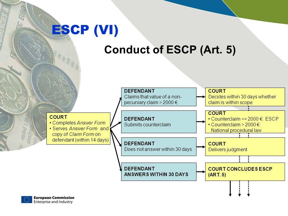 Conduct of ESCP (Art.