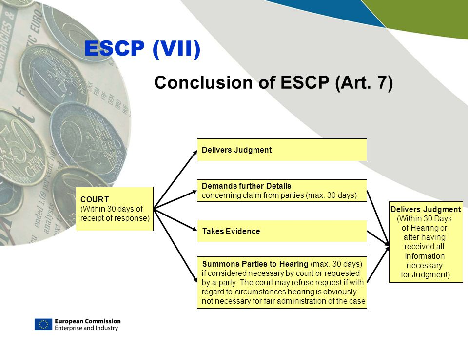 Conclusion of ESCP (Art. 7) ESCP (VII) COURT (Within 30 days of receipt of response) Delivers Judgment Demands further Details concerning claim from p