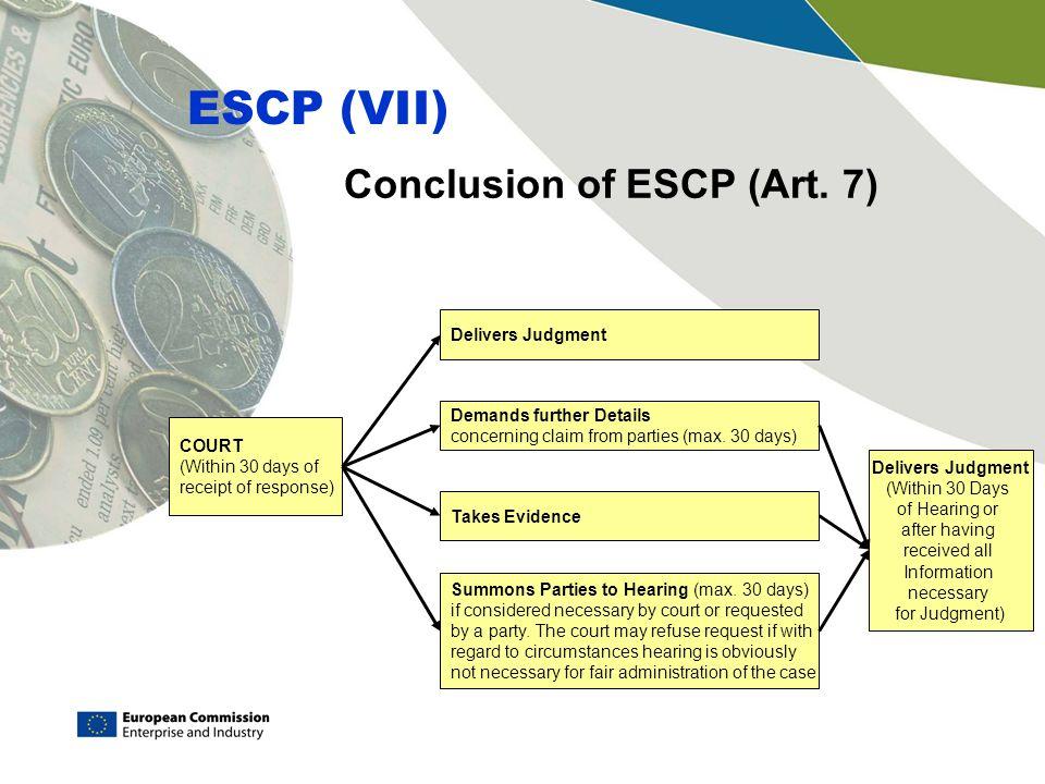 Conclusion of ESCP (Art.