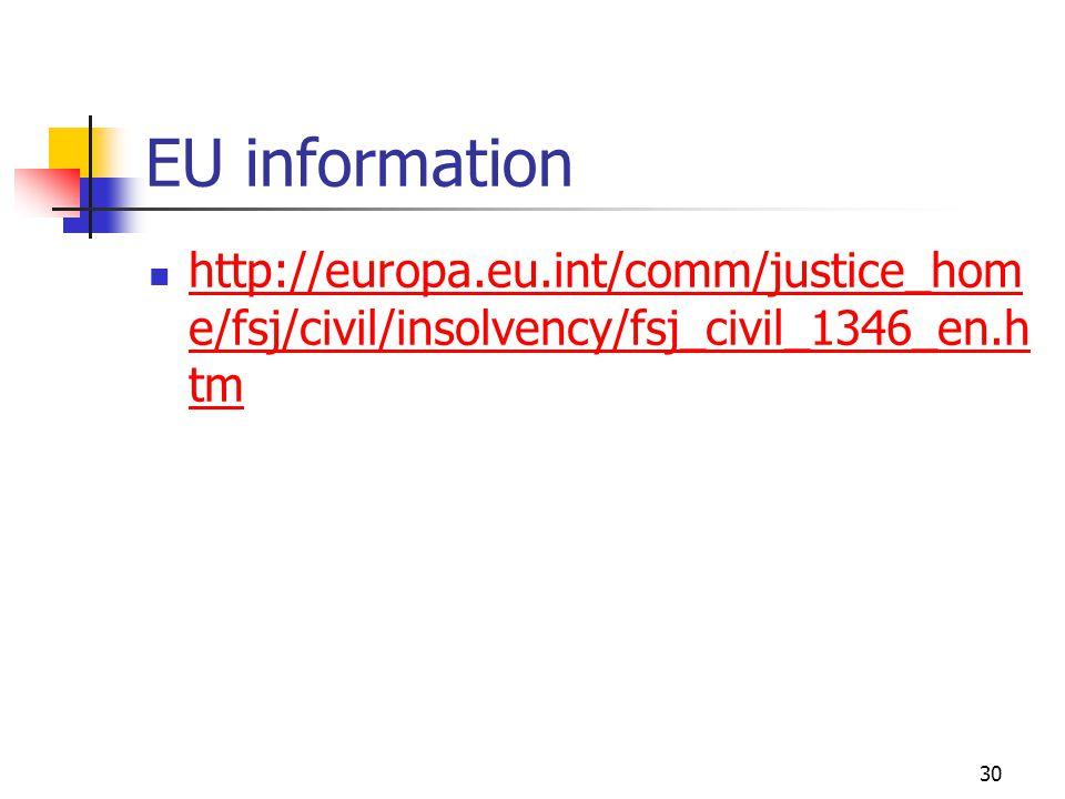30 EU information http://europa.eu.int/comm/justice_hom e/fsj/civil/insolvency/fsj_civil_1346_en.h tm http://europa.eu.int/comm/justice_hom e/fsj/civil/insolvency/fsj_civil_1346_en.h tm