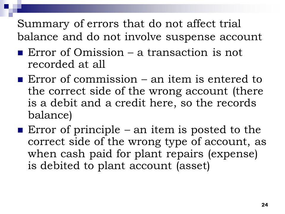 24 Summary of errors that do not affect trial balance and do not involve suspense account Error of Omission – a transaction is not recorded at all Err