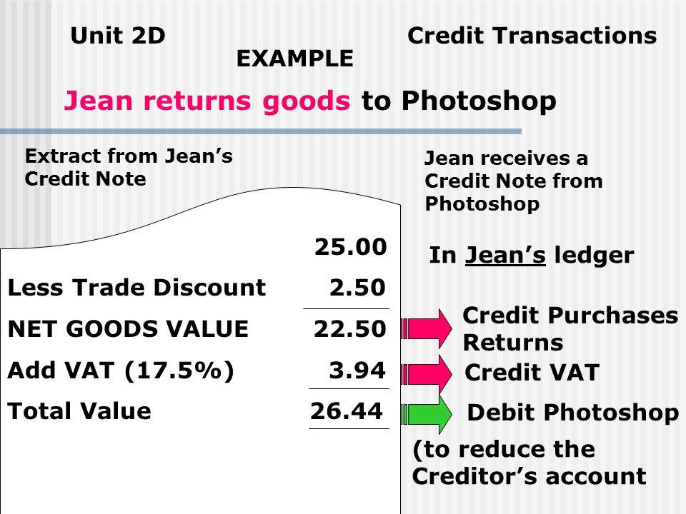 Unit 2D Credit Transactions Processing Sales Returns from the Copy Credit Note Debit Net Goods Value to Sales Returns Account Debit the VAT to the VAT