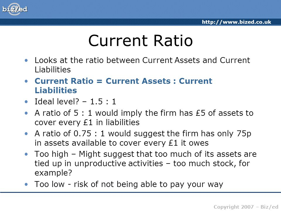 http://www.bized.co.uk Copyright 2007 – Biz/ed Current Ratio Looks at the ratio between Current Assets and Current Liabilities Current Ratio = Current