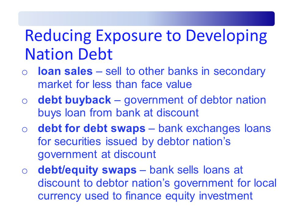 Reducing Exposure to Developing Nation Debt o loan sales – sell to other banks in secondary market for less than face value o debt buyback – government of debtor nation buys loan from bank at discount o debt for debt swaps – bank exchanges loans for securities issued by debtor nation's government at discount o debt/equity swaps – bank sells loans at discount to debtor nation's government for local currency used to finance equity investment