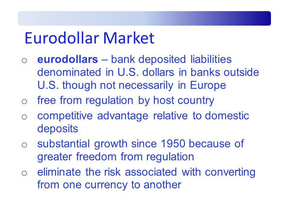 Eurodollar Market o eurodollars – bank deposited liabilities denominated in U.S.